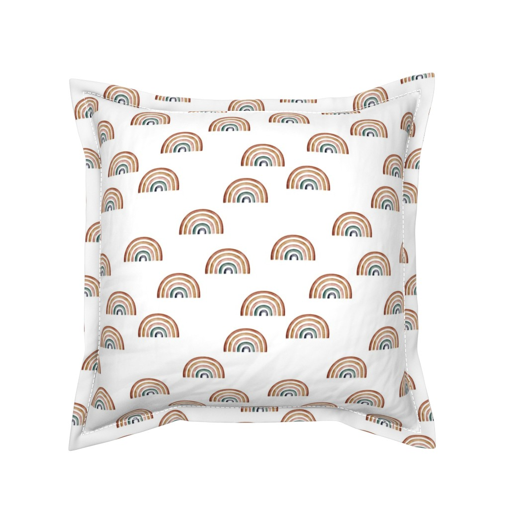 Serama Throw Pillow featuring Scattered Rainbows || Earth toned watercolour rainbows || Rainbow Baby kids bedding by erin__kendal