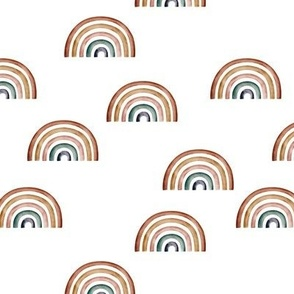Scattered Rainbows || Earth toned watercolour rainbows || Rainbow Baby kids bedding