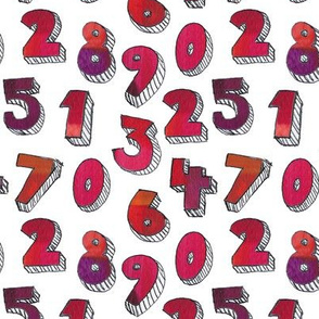 Painted numbers in Warm Colours