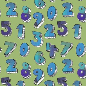 Painted Numbers in Green