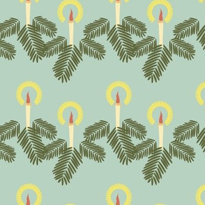 16-22F Retro Christmas Garland on Mint || fir tree  yellow cream orange forest green _Miss Chiff Designs