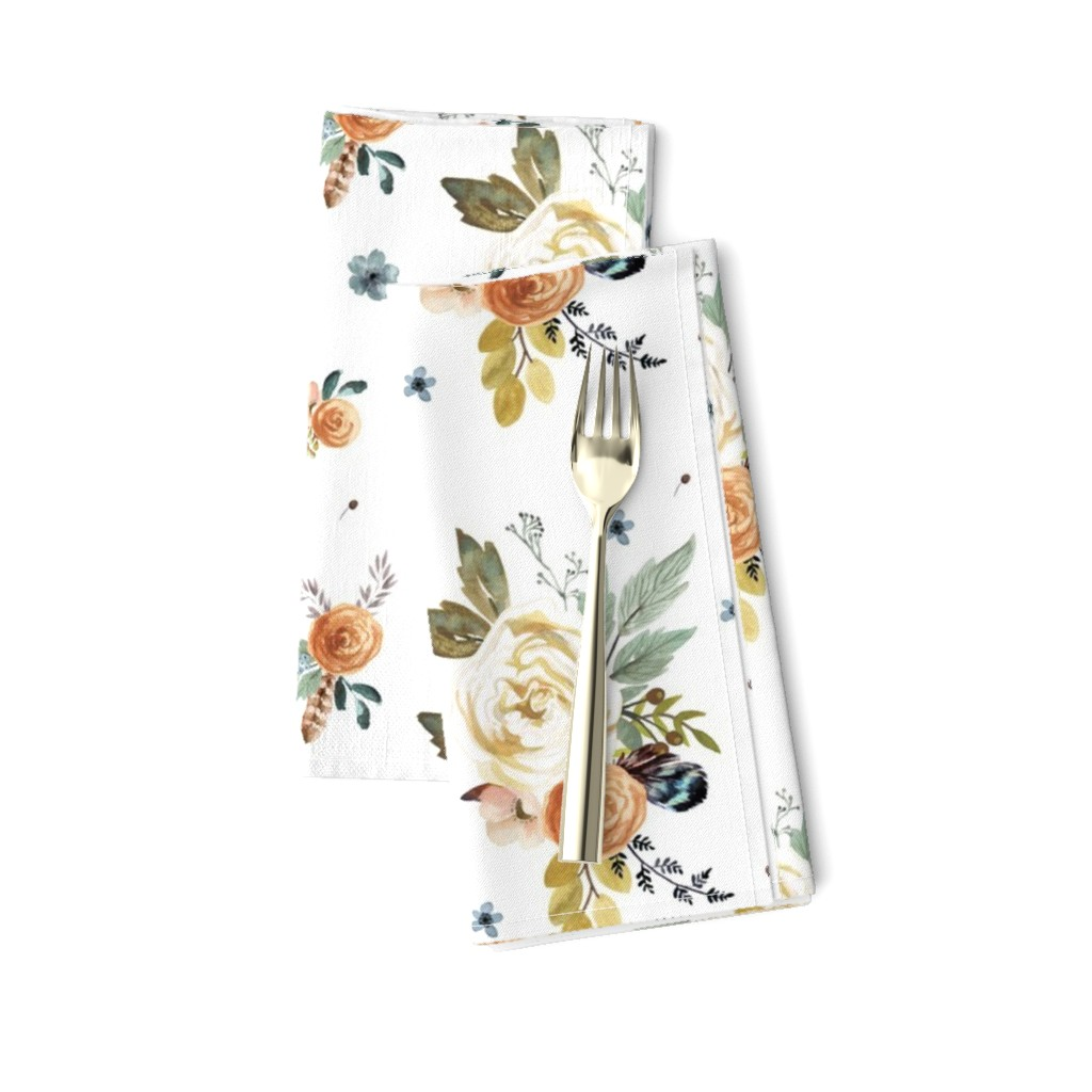 Amarela Dinner Napkins featuring Western Autumn in White by shopcabin