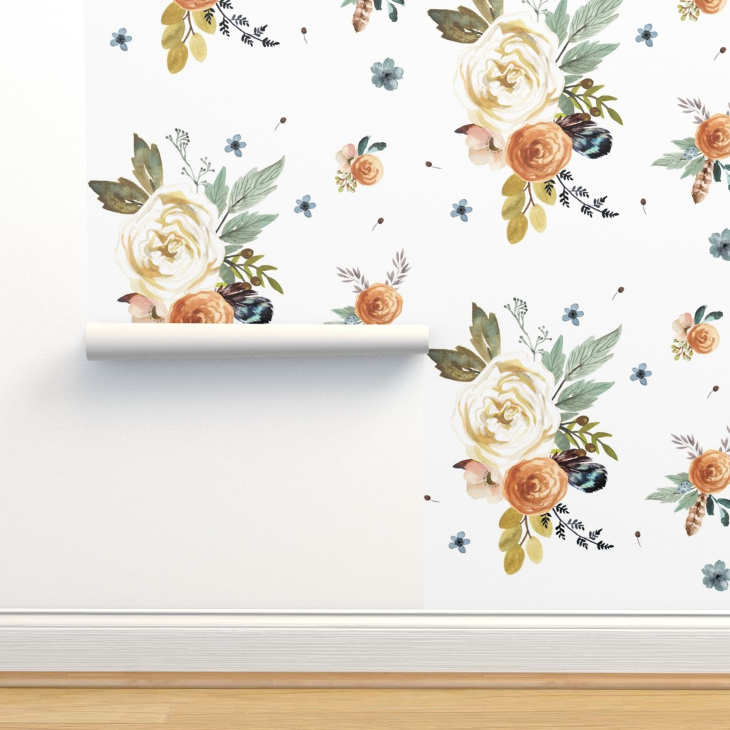 Isobar Durable Wallpaper featuring Western Autumn in White by shopcabin