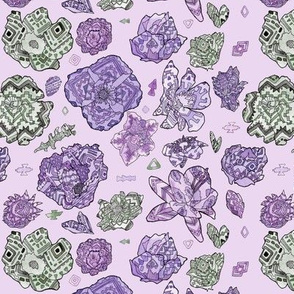 Tribal Patterned Flowers Blue and Purple