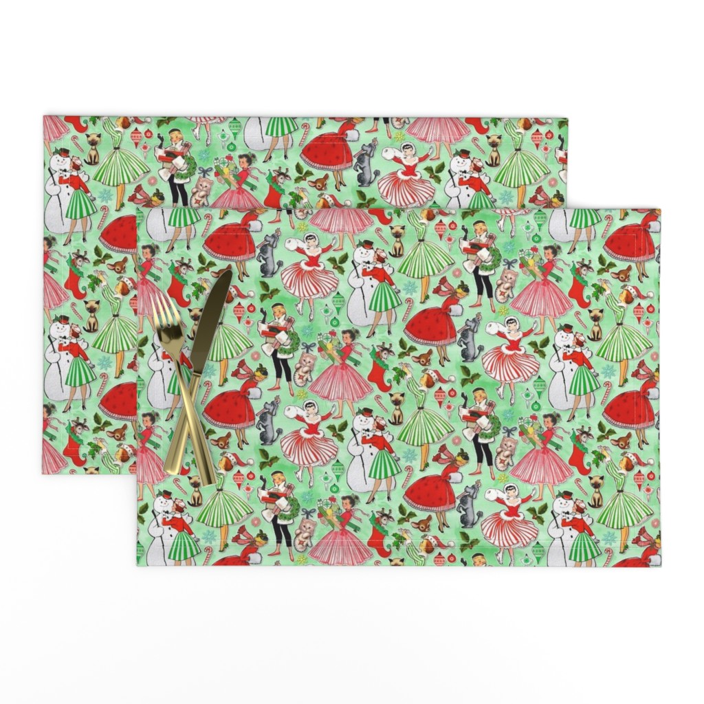 Lamona Cloth Placemats featuring Vintage Christmas Traditions by xoxotique