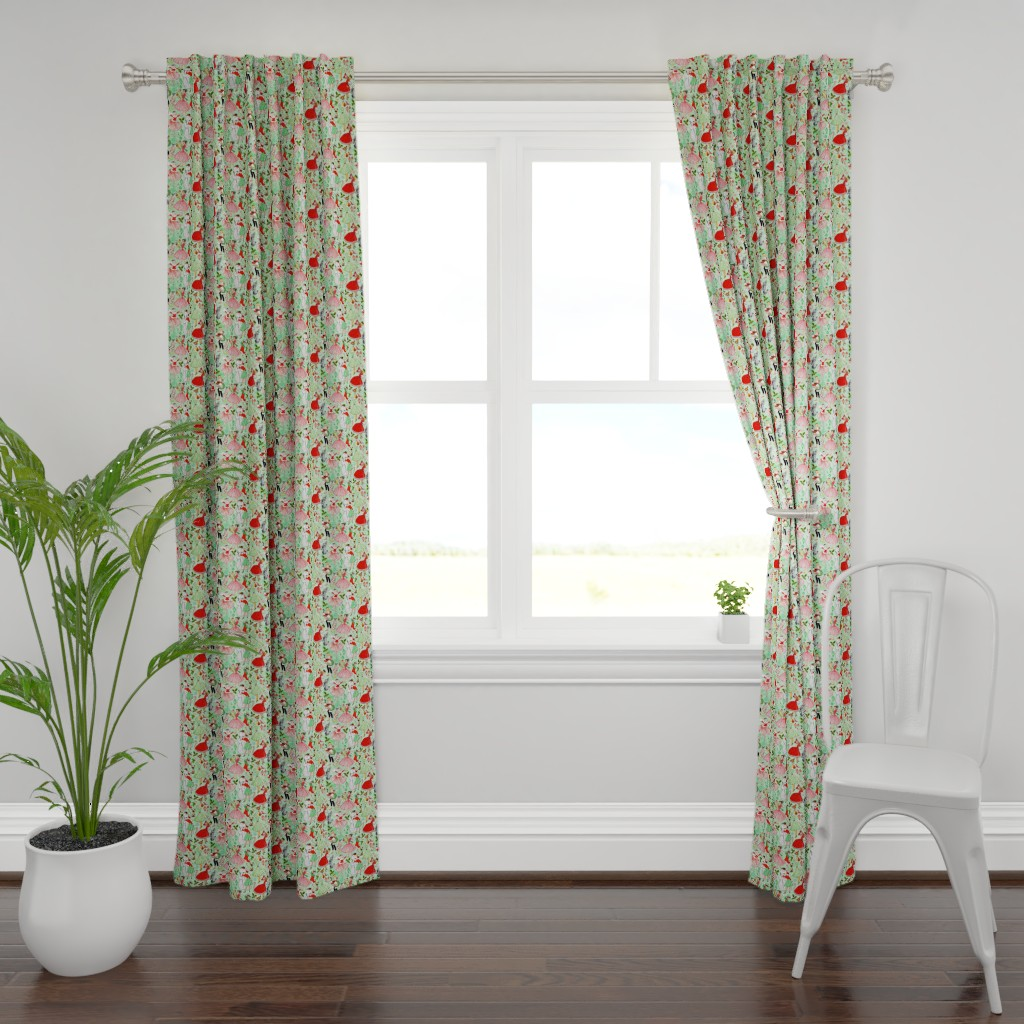 Plymouth Curtain Panel featuring Vintage Christmas Traditions by xoxotique