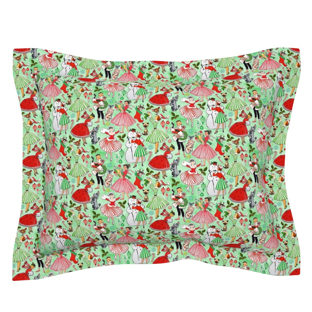 Sebright Pillow Sham featuring Vintage Christmas Traditions by xoxotique