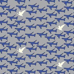 16-05S 767 Airplanes Bird     Transportation Blue silver white goose gray Aviation Plane Sky _Miss Chiff Designs