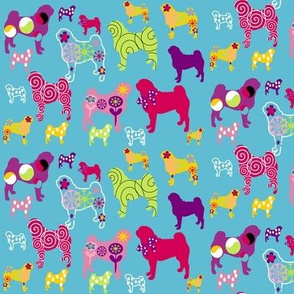 Pug fabric 'world of color'