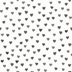 BLACK WATERCOLOR HEARTS