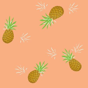 Pineapples in Coral // Summer repeat pattern // Quirky and fun print for giftwrap or fabric - original design by Zoe Charlotte