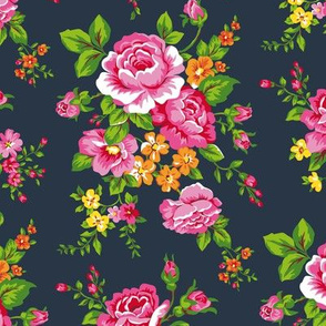 Vintage Floral with Pink Roses on Navy Smaller Size
