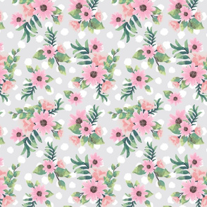 Watercolor flowers grey small