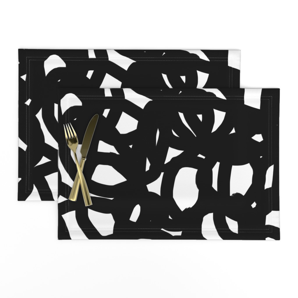 Lamona Cloth Placemats featuring Freestyle in black by domesticate