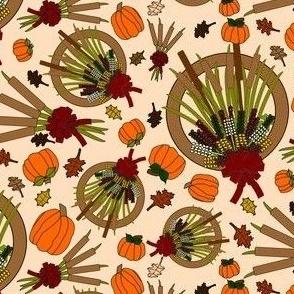 Fall Flowers, Reeds, Leaves,Wreaths and Pumpkins Custom Fabric 1