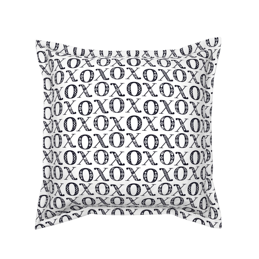 Serama Throw Pillow featuring   Fairytale Folk XO Hugs and Kisses - Black and White by ceciliamok