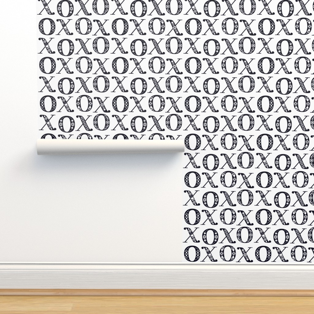 Isobar Durable Wallpaper featuring   Fairytale Folk XO Hugs and Kisses - Black and White by ceciliamok