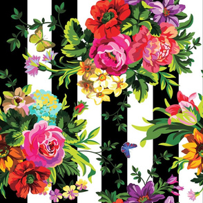 "18"" Floral Pop Stripes - Large Print Sideways / 90 degrees"