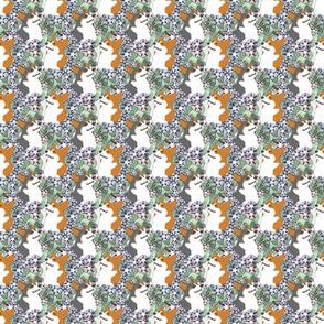 Small Floral Pembroke Welsh Corgi portraits