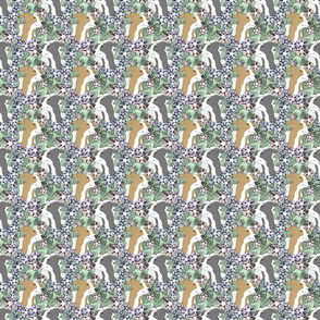 Floral Italian Greyhound portraits - small