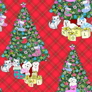 Christmas tree plaid dogs, cats, Christmas Stocking / Kittens and puppies with baubles