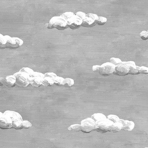 painted grey clouds in a grey sky