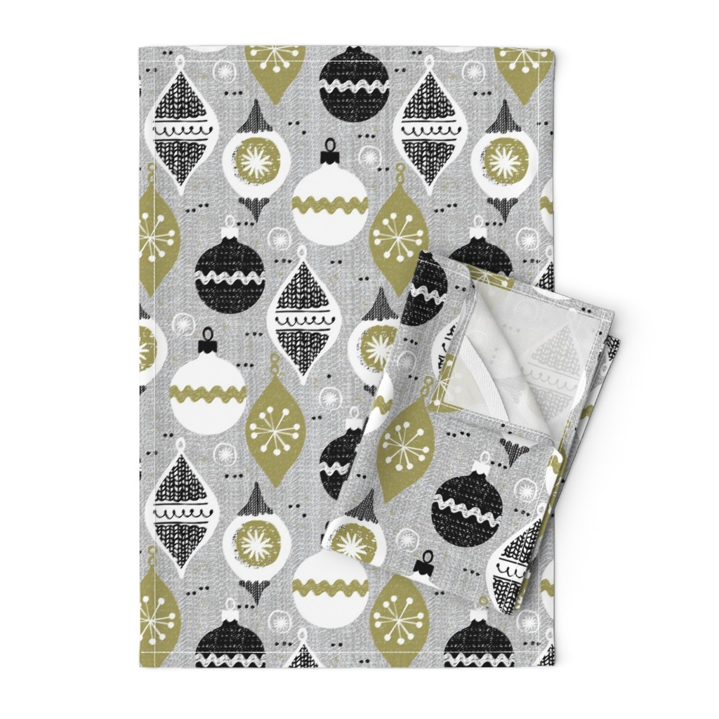 Orpington Tea Towels featuring vintage ornaments - gray - retro- Christmas holiday-winter by ottomanbrim