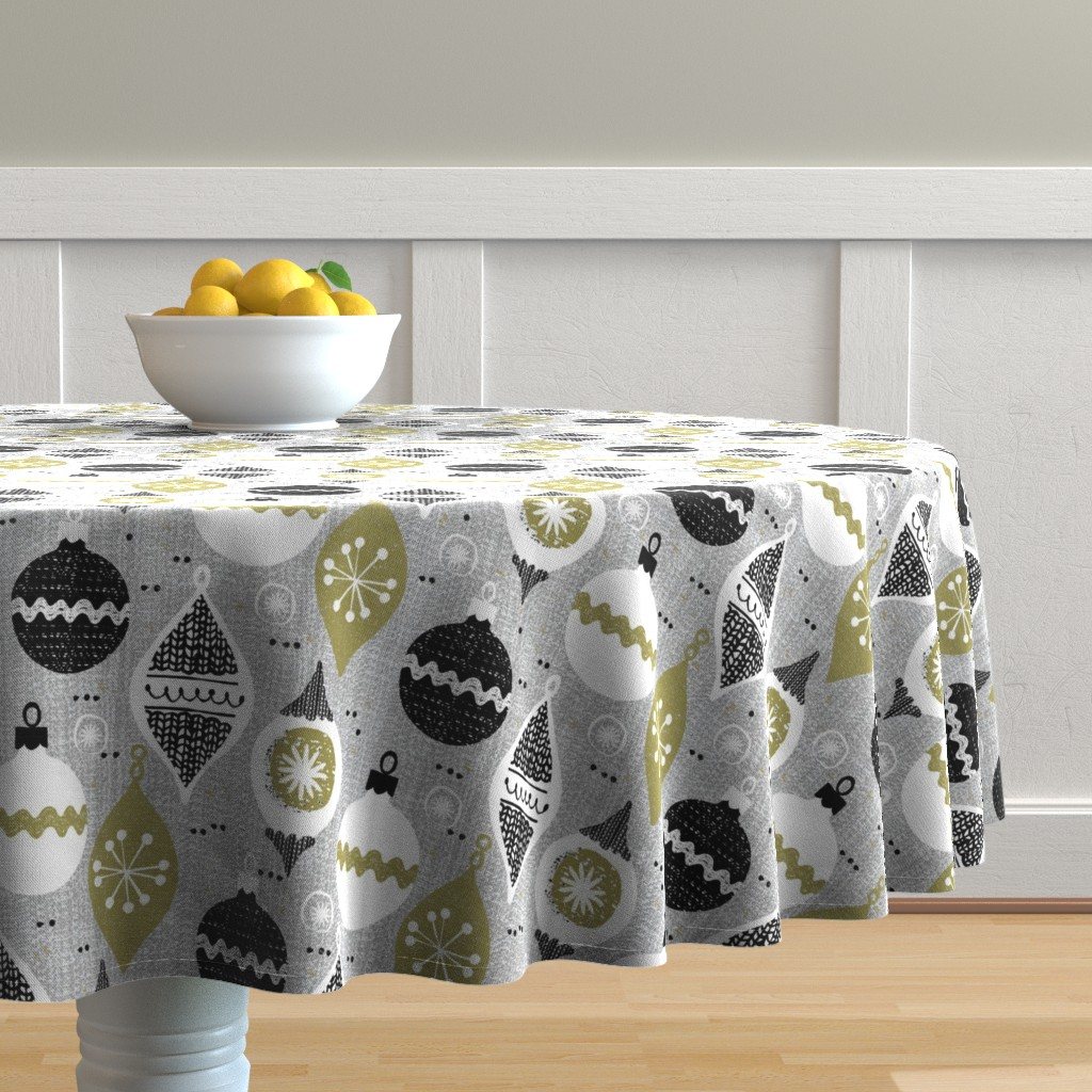 Malay Round Tablecloth featuring vintage ornaments - gray - retro- Christmas holiday-winter by ottomanbrim
