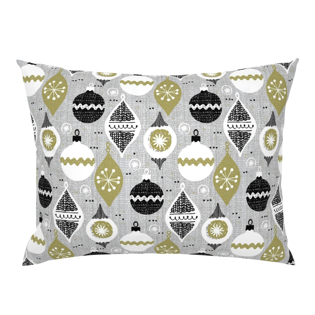 Campine Pillow Sham featuring vintage ornaments - gray - retro- Christmas holiday-winter by ottomanbrim