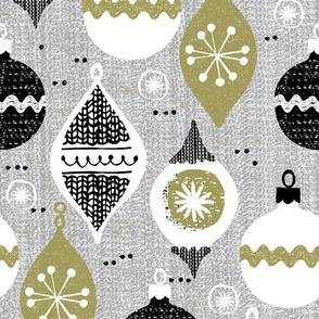 vintage ornaments - gray - retro- Christmas holiday-winter
