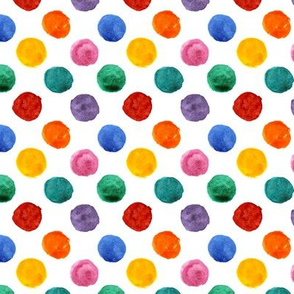 Colorful polka dot watercolor pattern