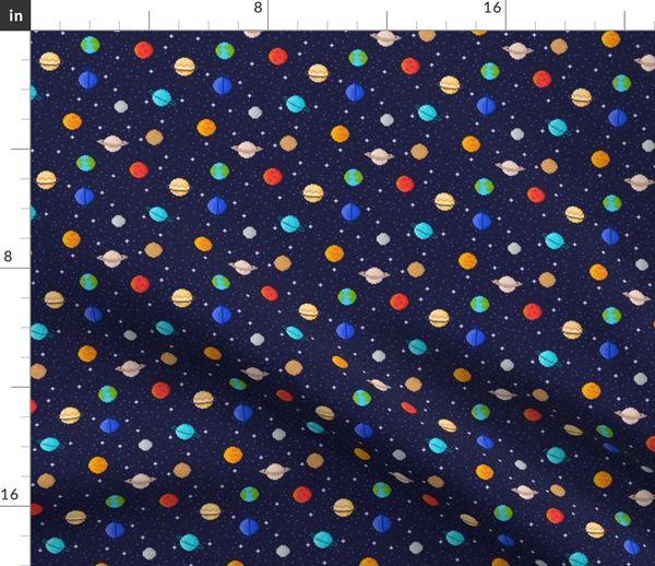 Tissu Au Mètre Pixel Art Astronomie Science Broderie Planète Planètes Espace