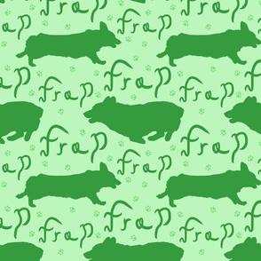 Pembroke Welsh Corgi frap - green