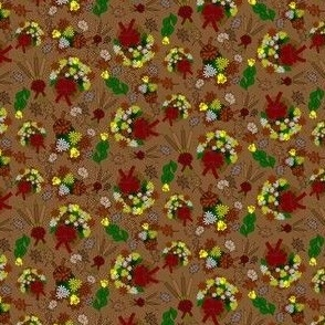 Fall Flowers, Roses and Baskets Custom Fabric #2