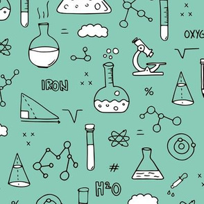 Cool back to school science physics and math class student illustration laboratorium black and white mint
