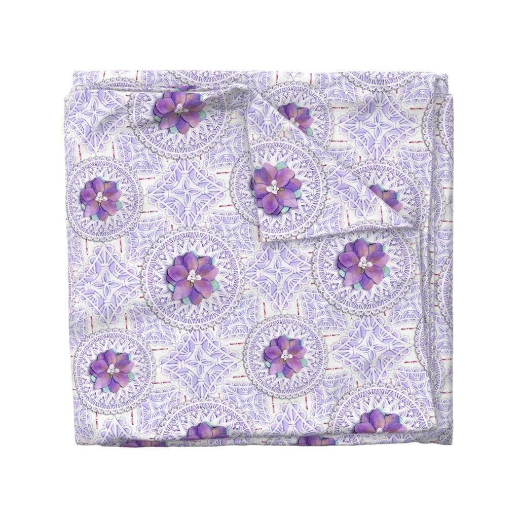Wyandotte Duvet Cover featuring Victorian Delphinium & Lace by patriciasheadesigns