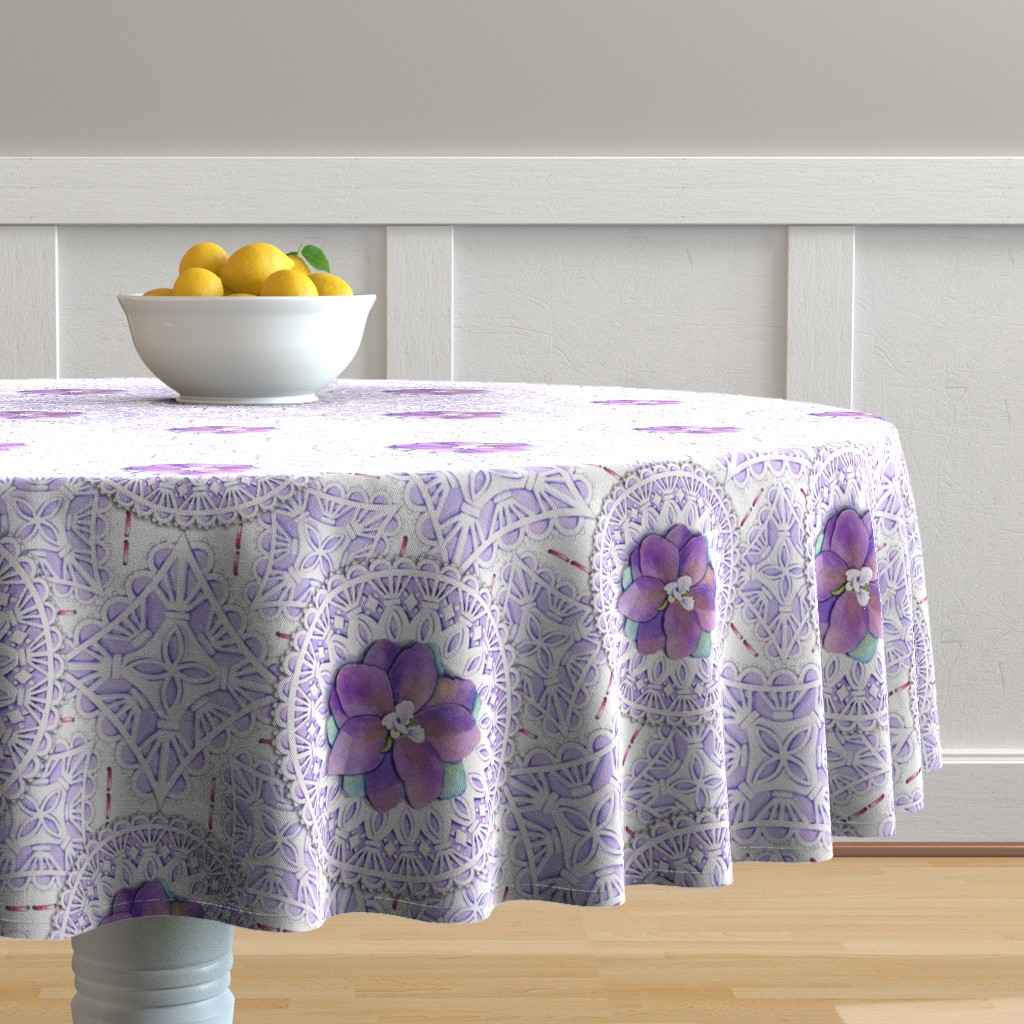Malay Round Tablecloth featuring Victorian Delphinium & Lace by patriciasheadesigns