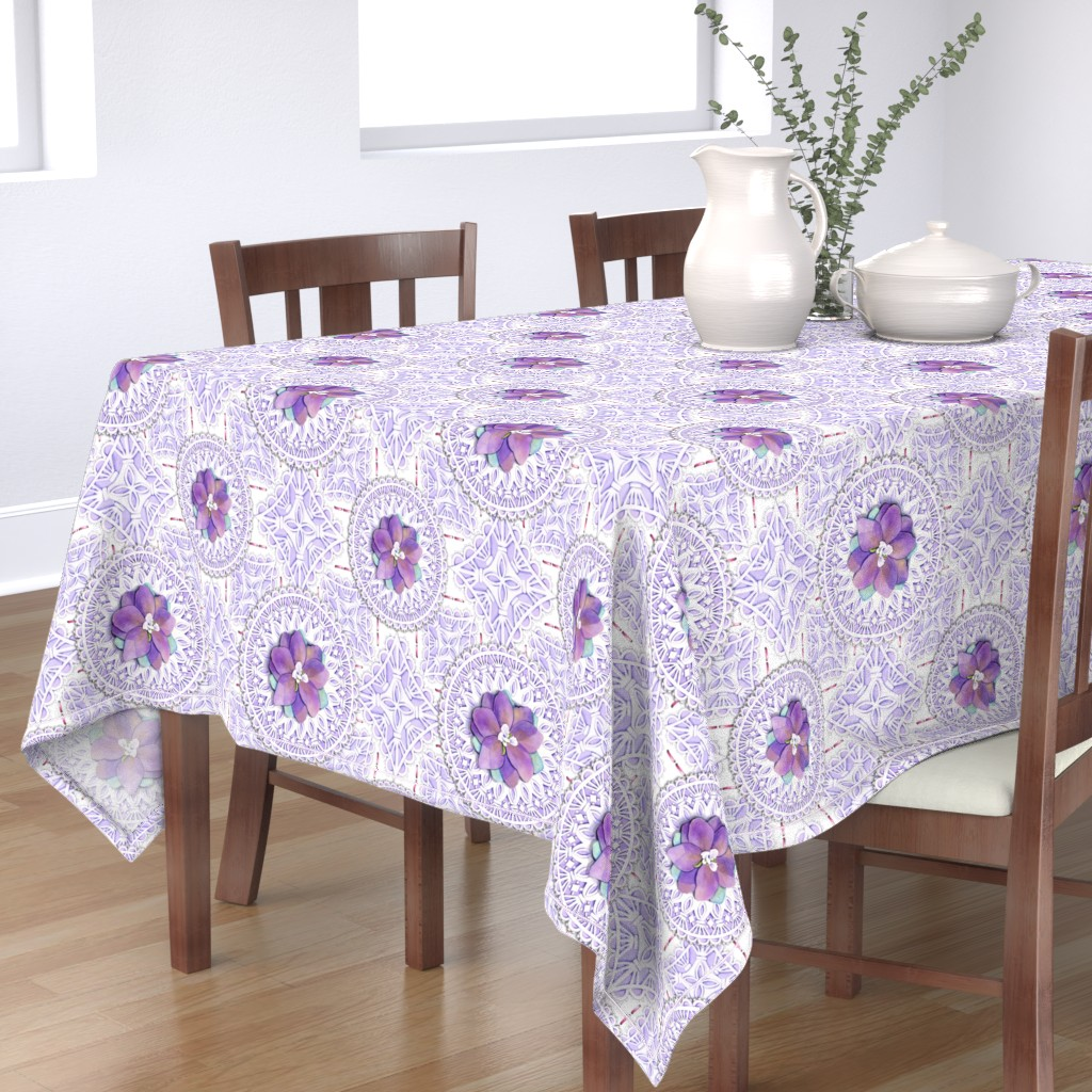 Bantam Rectangular Tablecloth featuring Victorian Delphinium & Lace by patriciasheadesigns