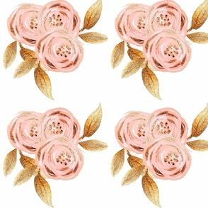 Glitz Gold & Blush Flower - - Gold Foiled - - Floral - - Pink