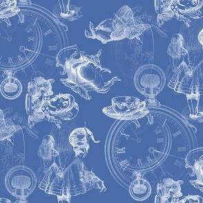 Alice in Wonderland White on Blue