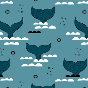Pura vida collection fish tales whale design scandinavian style ocean winter blue