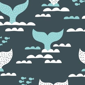 Pura vida collection fish tales whale design scandinavian style ocean winter blue gray