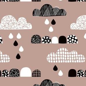Soft fall clouds  and rain drops sky scandinavian geometric texture design beige