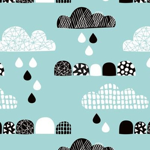 Soft fall clouds  and rain drops sky scandinavian geometric texture design winter blue