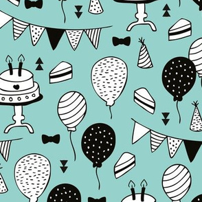 Colorful gender neutral birthday celebration party cake balloons and garland design mint