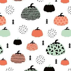 Sweet fall inky texture pumpkin garden halloween print coral mint