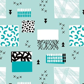 geometric inky texture abstract cubes and lines scandinavian style design winter blue