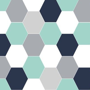 cheater quilt navy blue mint grey hexagon quilt hexie cute boys nursery baby boy woodland northern ridge collection charlotte winter kids scandi fabric