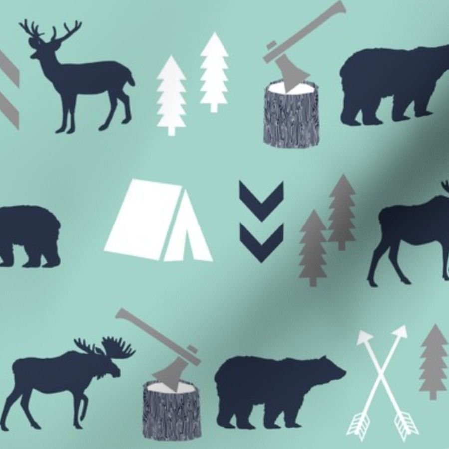 Navy Gray Moose Bear Nursery Lamp Shade