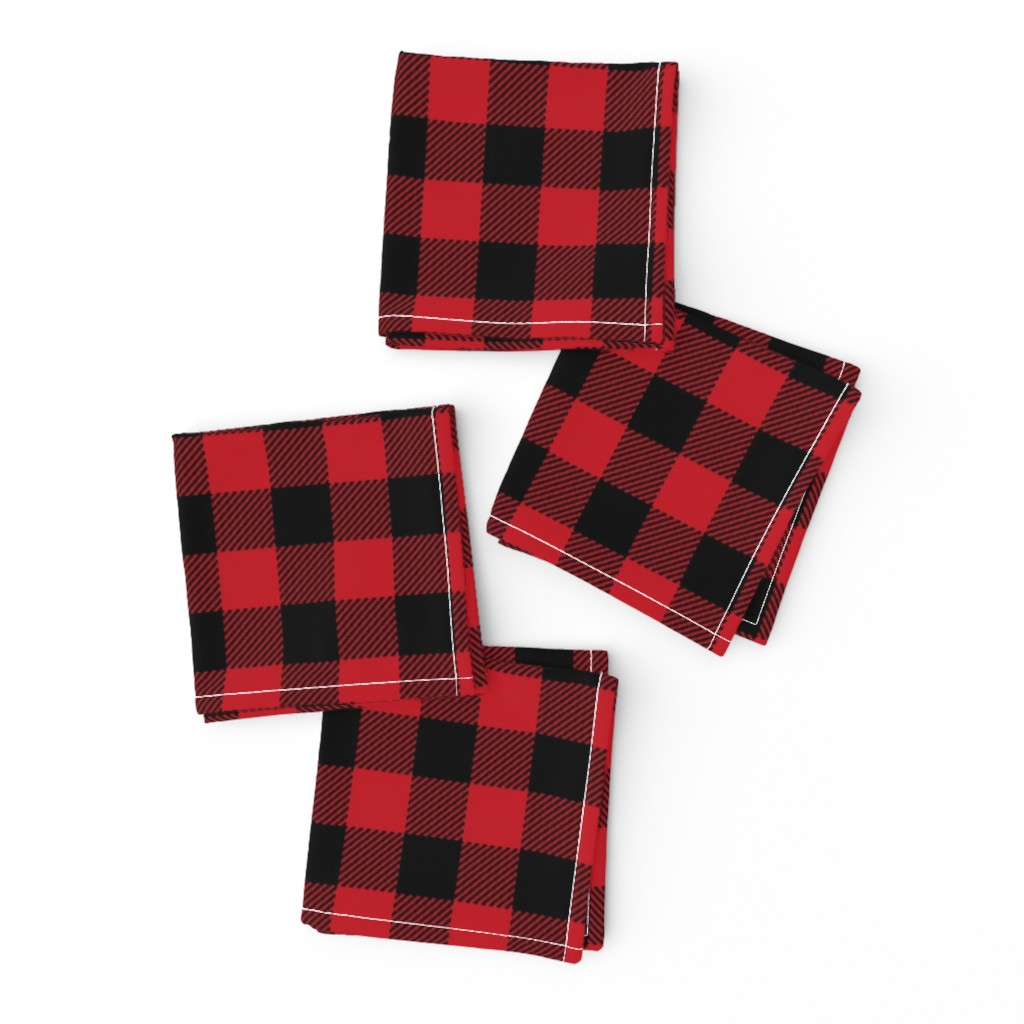 "Frizzle Cocktail Napkins featuring 1"" buffalo plaid black and red kids cute nursery hunting outdoors camping red and black plaid checks by charlottewinter"